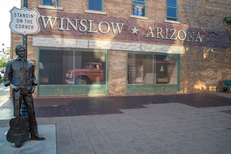 The Eagles statue in Winslow Arizona is a popular Route 66 tourist attraction Editorial