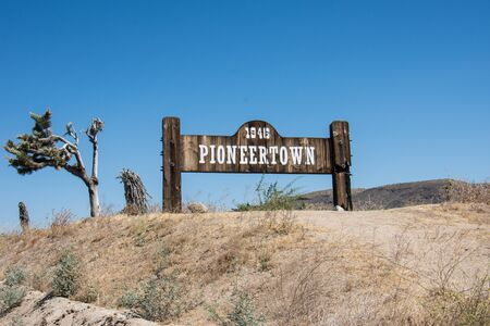 JULY 1 2017 - PIONEERTOWN, CALIFORNIA: Sign for Pioneertown, a community founded by Hollywood investors to make Western movies, is located in the Morongo Basin region of California.