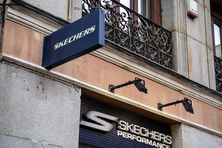 Madrid, Spain - January 25, 2020: Sign for Skechers shoes in downtown Madrid near Calle Gran Via