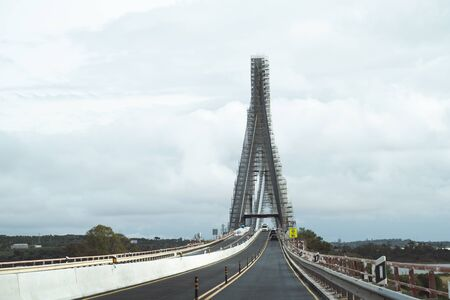 Border bridge between Spain and Portgual is under construction. This International bridge located at Ayamonte province of Huelva over the Guadiana river Stock Photo