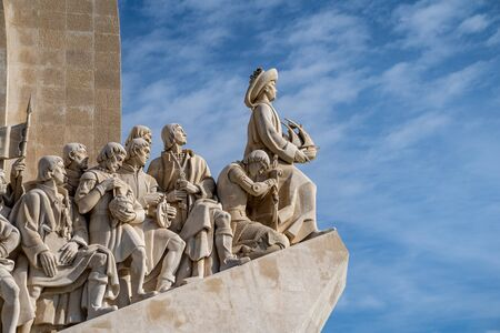 Lisbon, Portugal - January 17, 2020: Close up view of the Padrão dos Descobrimentos (Monument of the Discoveries) in Belem area