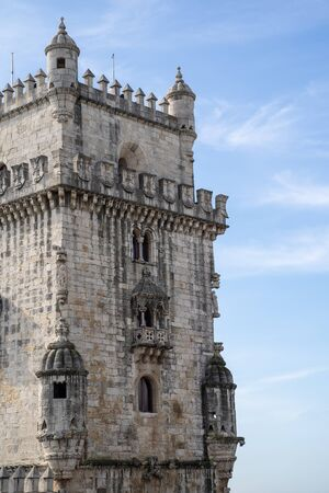 Belem Tower in Lisbon Portugal - Portrait view close up