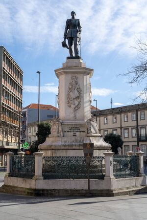 Porto, Portugal - January 20, 2020: Close up of the Statue of King Pedro V of Portugal at Batalha Square