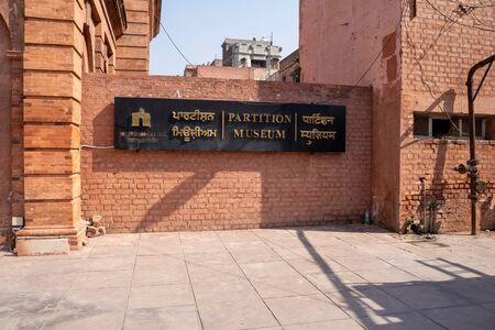 Amritsar, India - Febuary 8, 2020: Sign for the Partition Museum, which is an historic townhall building from the British rule era converted into a Museum for 1947 partition India Pakistan Redakční