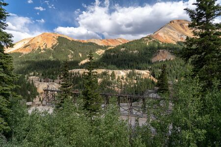 Idarado Mine in the Colorado Sneffels-Red Mountain-Telluride mining district has remnants left easily visible from the Million Dollar Highway near Ouray and Silverton CO