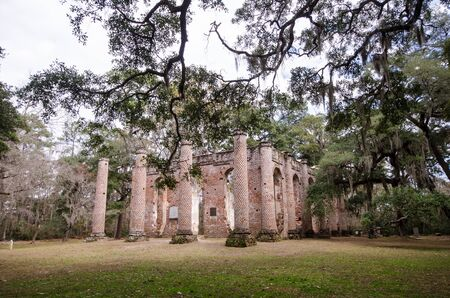 Old Sheldon Church ruins in Yemassee South Carolina, church is from the Revolutionary War and burned down.