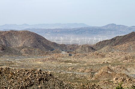 Wind turbines in the distance from a viewpoint off of Interstate 8 in the Coachella Valley of Southern California.