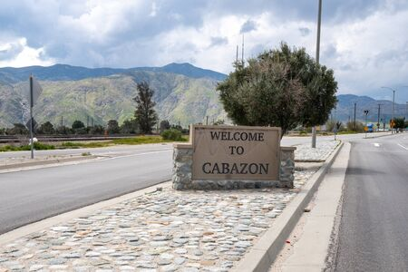 Welcome sign to the city of Cabazon, CA, off of the I-10 freeway near the Coachella valley