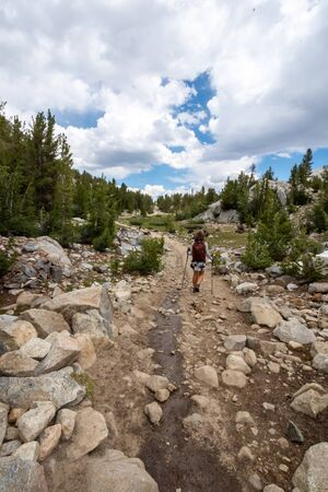 Female hiker concentrates while hiking on a dowhill slope in the Eastern Sierra Nevada mountains in the Little Lakes Valley trail