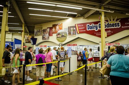 Falcon Heights, Minnesota - August 26, 2018: View inside the Dairy Barn building, where customers line up for milkshakes and ice cream