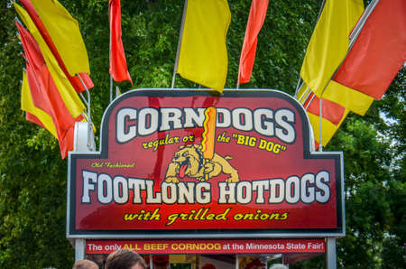 Falcon Heights, Minnesota.- August 25, 2018: Corn Dog and Footlong Hot Dog food stand at the Minnesota State Fair
