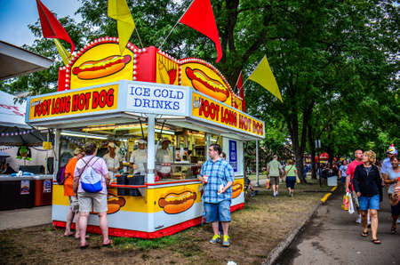 Falcon Heights, Minnesota - August 24, 2018: The famous About a Footlong hot dog food booth at the Minnesota State Fair