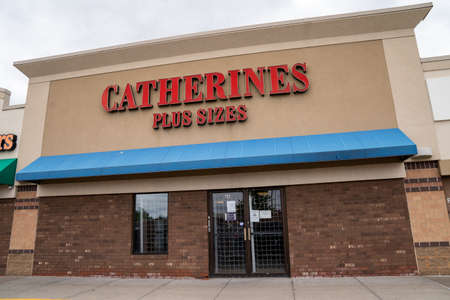 Minneapolis, Minnesota - May 29, 2020: A Catherines Plus Sizes clothing store is closed and barricaded in prevention of riots and looting in the death of George Floyd Editöryel
