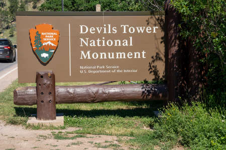 Devils Tower, Wyoming - June 23, 2020: Sign entering Devils Tower National Monument from the US National Park Service