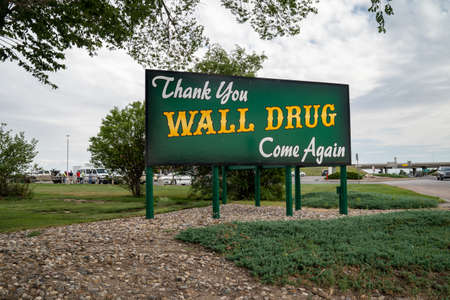 Wall, South Dakota - July 24, 2020: Sign for Thank You for visiting Wall Drug, come again. This is a famous tourist attraction in the Black Hills area