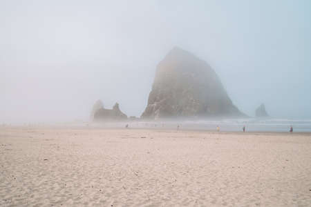 Extremely foggy view of Haystack Rock in Cannon Beach Oregon during the morning