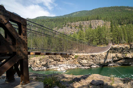Kootenai Falls in Montana - swinging bridge