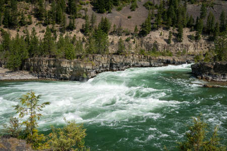 The Kootenai Falls and river near Libby, Montana in the Kootenai National Forest Stock Photo