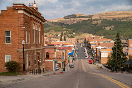 Cripple Creek, Colorado - September 16, 2020: Downtown cityscape view of the tourist gambling town high in the Rocky Mountains, known for its gold mining