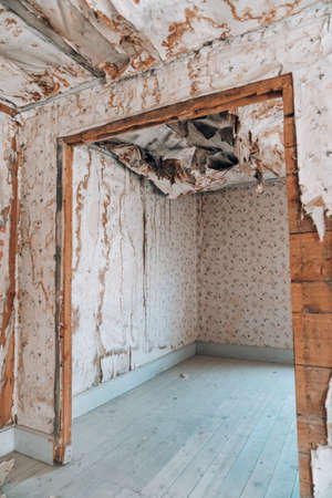 Extremely damaged wallpaper with collapsing ceiling, likely from water damage at an abandoned home in the Bannack ghost town of Montana
