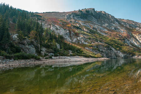 Scenic lake along the St Marys Glacier trail in Colorado, during autumn