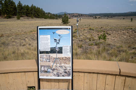 Florissant, Colorado - September 16,  2020: Sign explaining the use of an enviromental weather vane at the Flossiant Fossil Beds National Monument