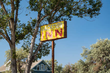 Manila, Utah - September 21, 2020: Sign for the Vacation Inn, a small, family-owned motel property in a rural area