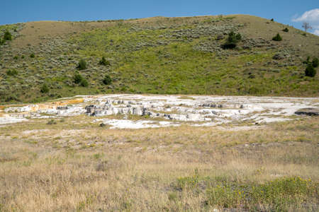 Opal Terrace, located across the road from the Mammoth Hot Springs Terraces, is a dried up hot spring 版權商用圖片