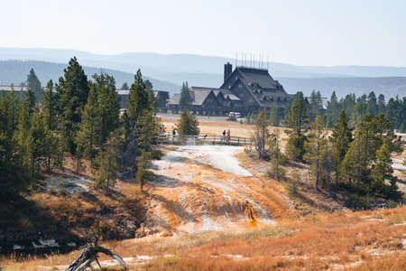 Wyoming, USA - September 23, 2020: View of the Old Faithful lodge, an historical building in Yellowstone National Park