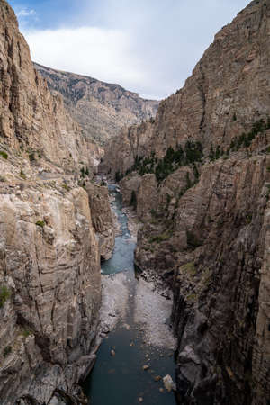 Canyon and Shoshone River at the Buffalo Bill Dam in Cody Wyoming