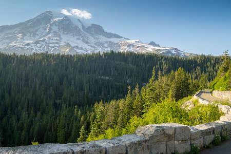 Road through Mt Rainier National Park in summer, Washington State USA