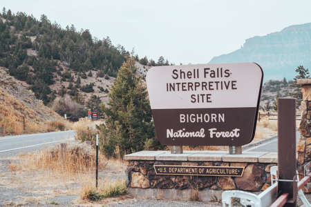 Wyoming, USA - September 25, 2020: Sign for Shell Falls Interpretive Site in the Bighorn National Forest
