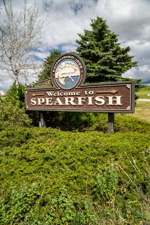 Spearfish, South Dakota - June 22, 2020: Welcome sign to Spearfish South Dakota, a small town near the Black Hills