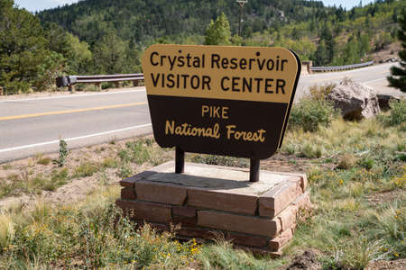 Colorado, USA - September 15, 2020: Sign for Crystal Reservoir Visitor Center in Pikes National Forest, along Pikes Peak highway