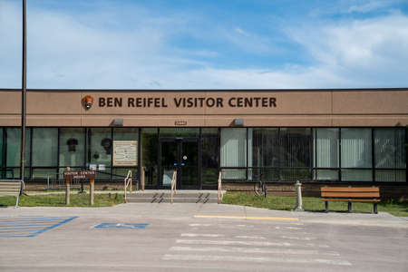 Scenic, South Dakota - June 21, 2020: Ben Reifel Visitor Center in Badlands National Park in summer, exterior view. Closed for the season