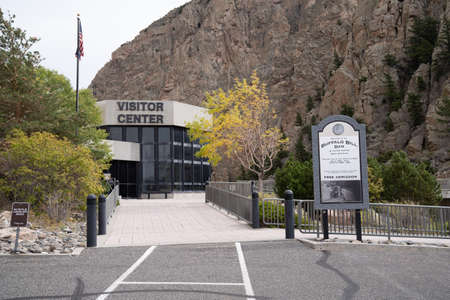 Cody, Wyoming - September 25, 2020: The Buffalo Bill Dam and Visitor Center during fall