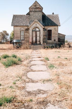 Old, abandoned LDS mormon church in Ovid, Idaho