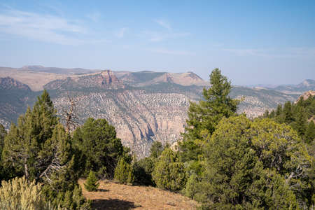 Scenic overlook of the canyon at Dinosaur National Monument. Hazy, polluted air