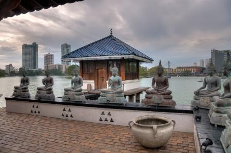 Buddha statues at Sima Malaka Buddhist Temple in Colombo, Sri Lanka Stok Fotoğraf