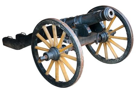 gunnery: Cannon on white background Stock Photo