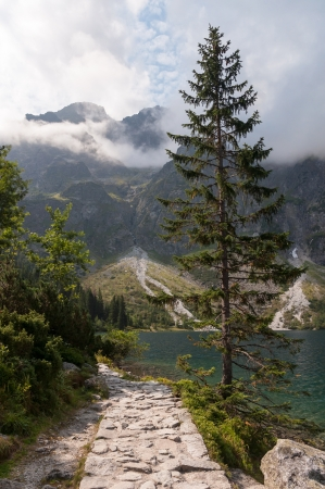 morskie: Mountain route around Morskie Oko lake, Tatra Mountains, Poland
