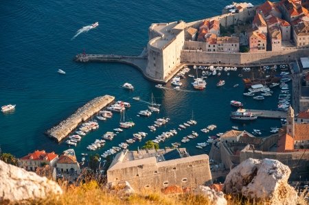 Harbor at Dubrovnik Old City in Croatia  photo