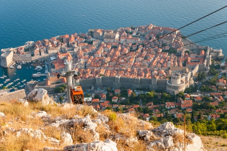 Beautiful view of Dubrovnik from cableway station on Srd mountain  photo