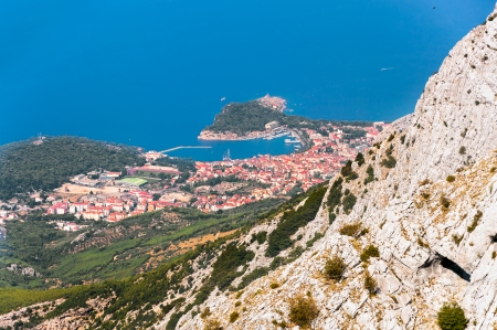 City of Makarska, view from Biokovo mountains  photo