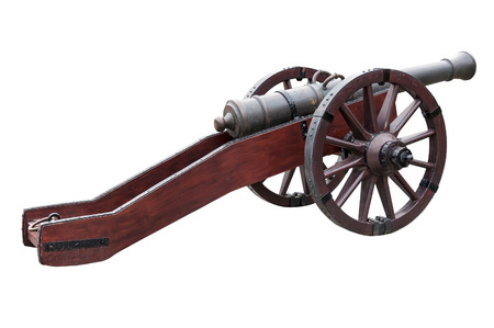 gunnery: Old cannon isolated over white