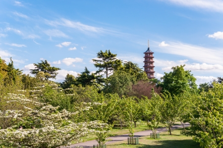 Trees, alley and Pagoda in Royal Botanic Gardens, Kew, London, England