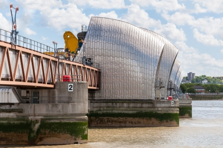 The Thames Barrier - close up of movable flood barrier in eastern London, United Kingdom Stock Photo - 24500729