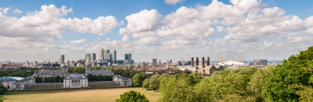 Panoramic view of Canary Wharf in eastern London from Greenwich, United Kingdom photo