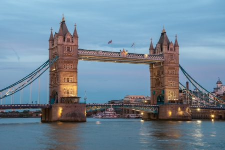 Tower Bridge, famous landmark of London at dusk photo