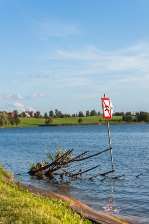 Sign in Rynskie Lake, Ryn, Masurian Lakes District of northern Poland Stock Photo - 24758773